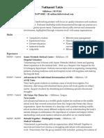 academic resume nathaniel takle