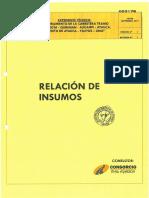 2.5 RELACION DE INSUMOS
