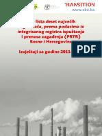 Top lista deset najvećih zagađivača za godine 2011–2013