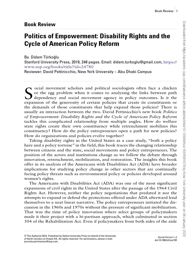 Disability Rights and the Cycle of American Policy Reform Politics of Empowerment