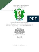 EVALUACIÓN DEL EFECTO DE DOS PLANES DE FERTILIZACIÓN EN EL CRECIMIENTO Y DESARROLLO FE PASCUA (Euphorbia pulcherrima var. Prestige).