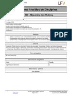Programa Analítico de Mecânica dos Fluidos