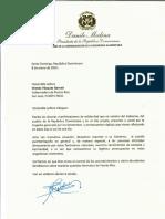 Carta de solidaridad del presidente Danilo Medina a la gobernadora de Puerto Rico, Wanda Vázquez Garced, por víctimas de terremoto