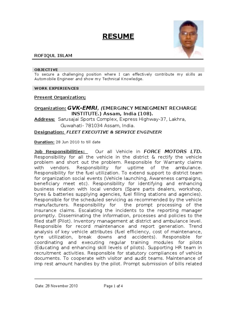 Resume1 Automobile Engg D Vehicles Diploma