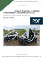 Lei que proíbe entrada de carros a combustão em Fernando de Noronha é sancionada