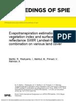 Evapotranspiration estimation using vegetation index and surface reflectance SWIR Landsat-8 combination on various land cover
