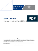 New Zealand - Overseas Investment Act 2005 (English)
