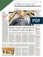 Renato Negri sulla Gazzetta di Reggio (Italy), 2017
