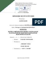 Etude comparative entre coagulation -floculation et electrocoagulation-electroflottation