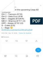 ErrBody_T on Twitter First Six(dlsu) in the upcoming Uaap 82 Volleyball OH 1 - Tiamzon (5'10) OH 2 - Dela Cruz (5'9) MB 1 - Ga