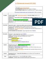 Calendrier Prévisionnel Annuel 2019 2020