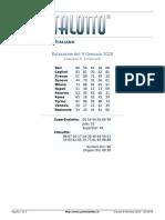Estrazioni del Lotto Italiano di Giovedì 9 Gennaio 2020