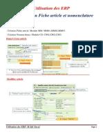Utilisation des ERP  Création Fiche article&nomenclature