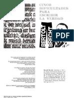 Cinco Dificultades para decir la verdad de Bertolt Brecht