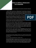 Manifiesto en Defensa y Restauración de la Hispanidad