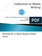 Introduction to Media Writing - lecture 8 - Storytelling and news reports - 18th Oct 2019