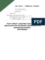 Algoritmo em Java - Números Primos