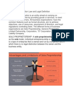 Business Organization Law and Legal Definition