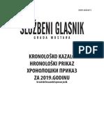 Službeni glasnik - Hronoloski Prikaz za 2019.Godinu