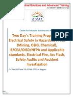 Jan EE 02. Training Program on Arc Flash, Electrcal Safety in Hazardous Areas (Mining, O&G) 3-4 Jan, 19-20 Feb 2020 Nagpur