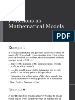 Functions as Mathematical Models