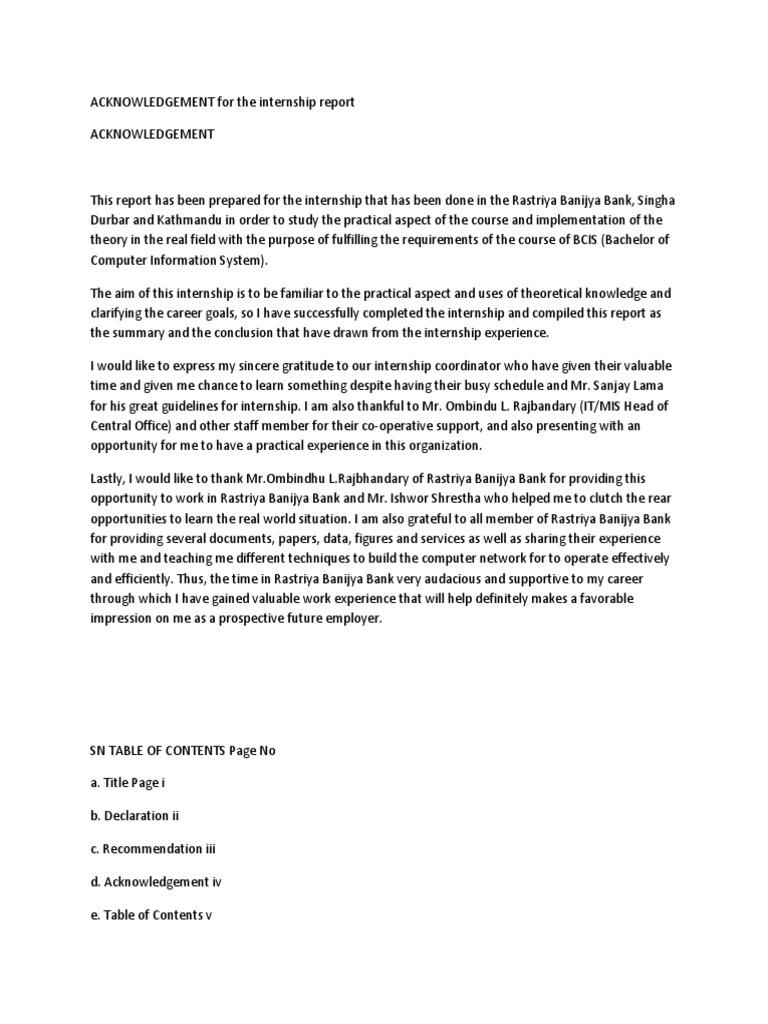 102336949 Acknowledgement For The Internship Report Docx Server Computing Banks