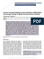 Factors Affecting Adoption and its Intensity of Malt Barley Technology Package in Malga Woreda Southern Ethiopia