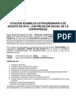 CITACIÓN ASAMBLEA EXTRAORDINARIA 8 DE AGOSTO DE 2018