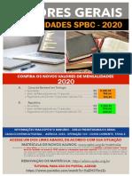VALORES PARA MENSALIDADES 2020