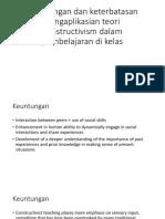 Keuntungan dan keterbatasan pengaplikasian teori constructivism dalam pembelajaran (general)