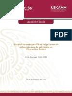 Disposiciones específicas Admisión EB 2020-2021