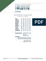 Estrazioni del Lotto Italiano di Sabato 11 Gennaio 2020