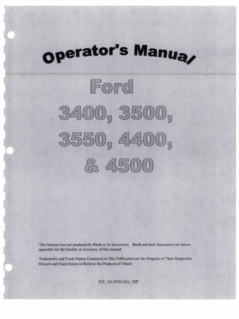 3400 3500 3550 4400 4500 Operator Manual