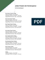 Daftar Harga Sumber Protein dan Kandunganya