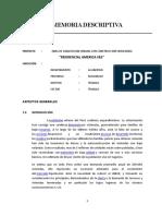 MEMORIA DESCRIPTIVA FINAL - OBRA DE HABILITACION URBANA CON CONSTRUCCION SIMULTANEA