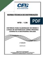 ntd  1.06 - critrios para projeto de redes prim. protegidas e sec. isoladas