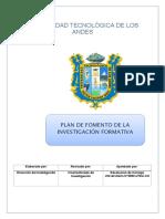 Plan de Fomento de La Investigación Formativa