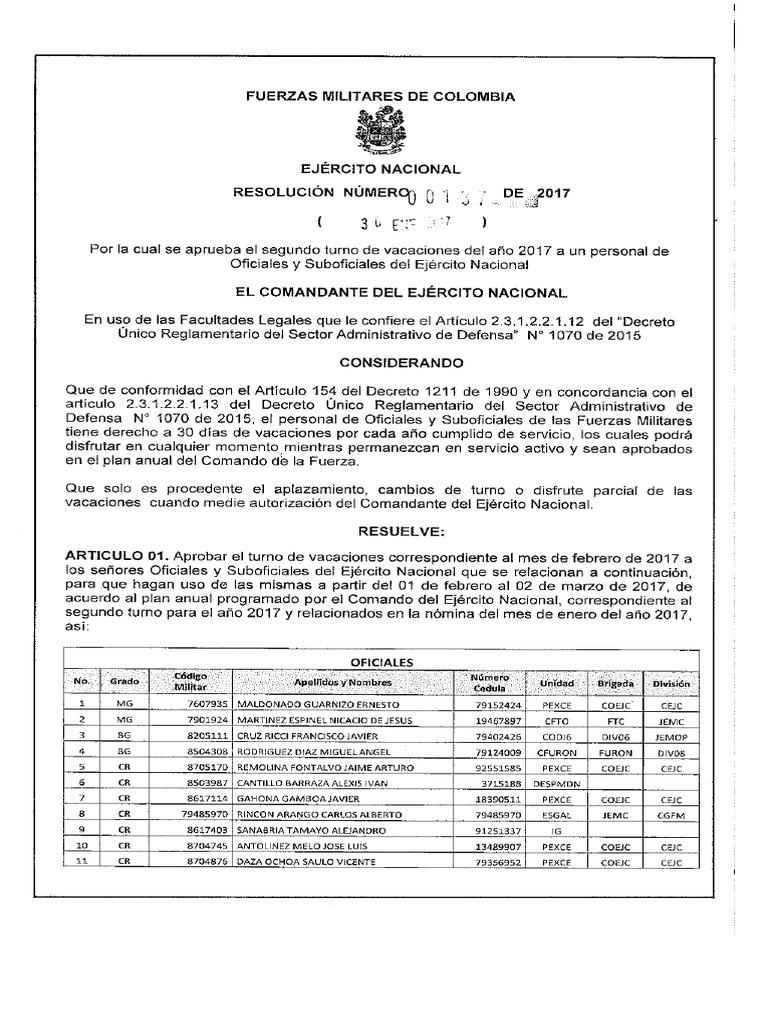 Aico Lombana resolucion vacaciones oficiales y subof febrero 2017