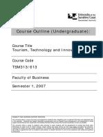 TSM313 Tourism, Technology and Innovation