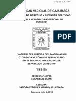 Naturaleza jurídica de la asignación otorgada al cónyuge perjudicado en el divorcio por causal de separación de hecho.pdf