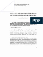 Hacia una edición crítica del texto latino de los Usatges de Barcelona