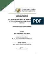 GÓMEZ, E. Los Modelos legislativos del divorcio sanción vs. Divorcio Remedio según el ordenamiento peruano