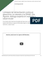 Consejos de alimentación contra el glaucoma, la catarata o la DMAE. Dra. Aguirre, bióloga experta en nutrición y salud ocular _ Fundación IMO
