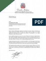 Carta de felicitación del presidente Danilo Medina a Cristóbal Marte Hoffiz por la clasificación de la Selección Nacional Femenina de Voleibol a los Juegos Olímpicos de Tokio 2020