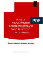 PLAN DE MEJORAMIENTO ORGANIZACIONAL - HOTEL EL TUMI