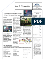 Parent Newsletter Where We Are in Time and Place