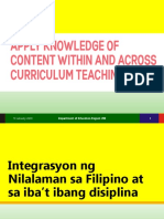 apply knowledge of content within and across curriculum