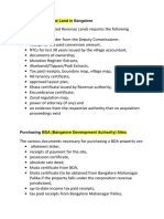 Documents before Purchasing Revenue Land in Bangalore