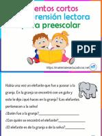 Cuentos cortos Comprensión lectora para preescolar-ME