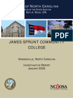 James Sprunt Community College Investigative Audit